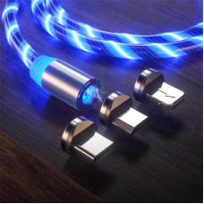 Магнитный светящийся кабель Greenport с LED 3в1 для Iphone, microUSB, Type-C  Blue (B24148-2)