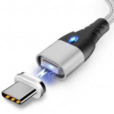 Магнитный кабель для зарядки и передачи данных Greenport M10A1 2m 3.0A для USB Type-C Silver (208P-tS)