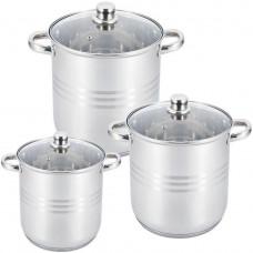 Набор посуды (кастрюль) из 3 предметов Unique UN-5041, кастрюли с крышками , нержавеющая сталь