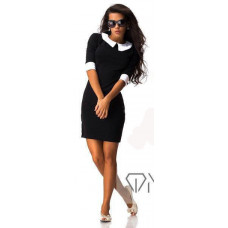 Черное платье с воротником и манжетами код: 813