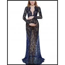 Длинное платье-пеньюар из кружева для фотосессии, на романтический вечер синий 303