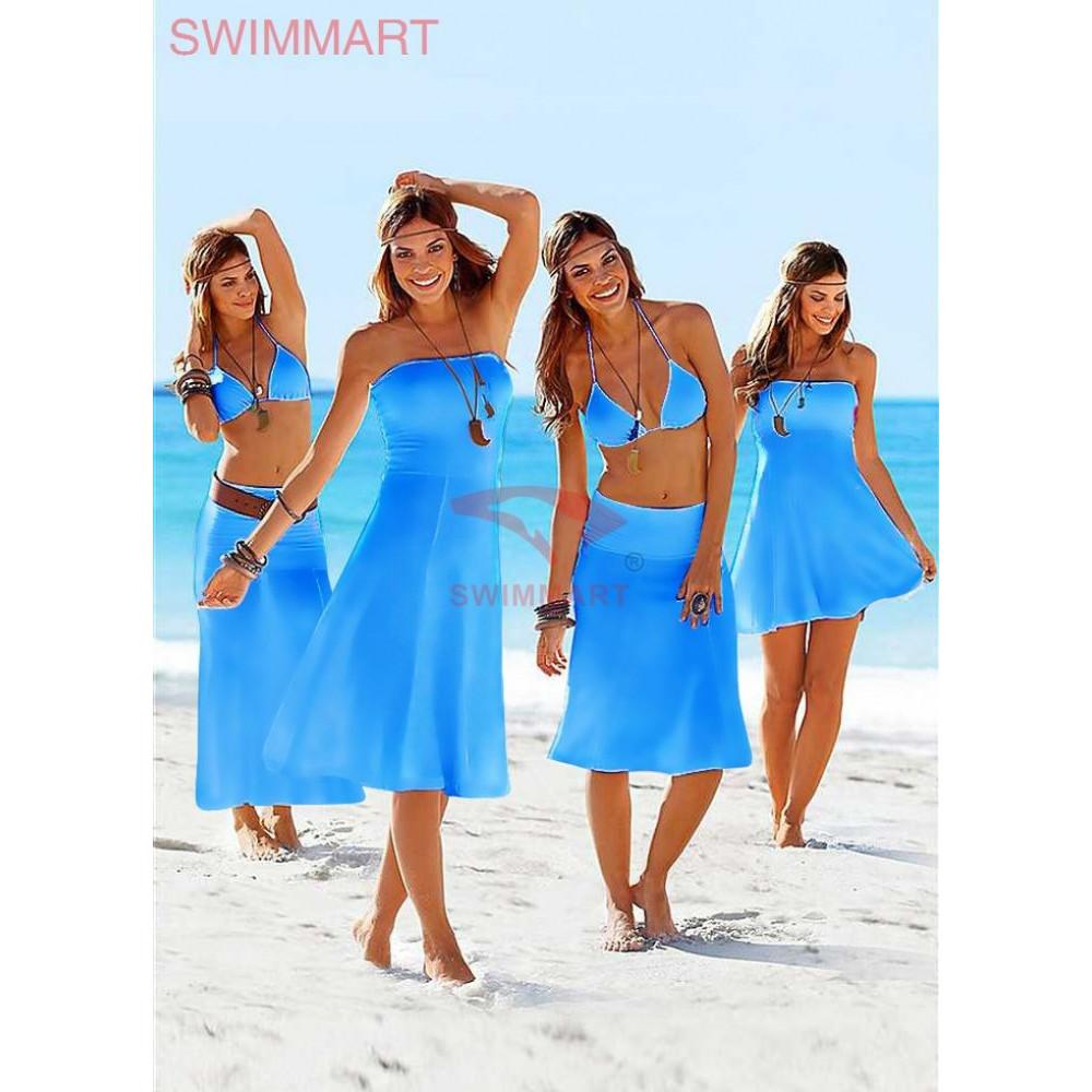 Платье-парео голубое для пляжного отдыха Тренд 2017