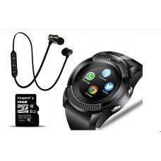 Сенсорные смарт часы Smart Watch V8+карта памяти 16GB+ bluetooth наушники В ПОДАРОК!!!!