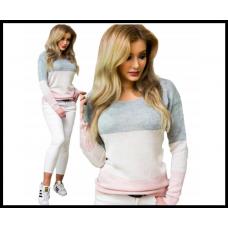 Нежный женский свитер, вязаный, серо- розовый