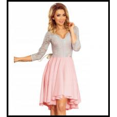 Праздничное платье с гепюровым верхом Numoco Nicolle оригинал, серо-розовое