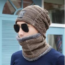 Мужская зимняя вязаная шапка + шарф NC коричневая код 91