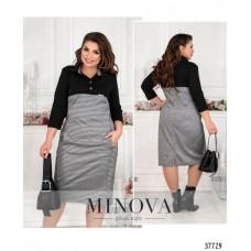 Женское повседневное платье батал-чёрный