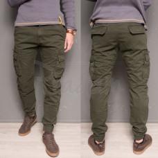 Утепленные зимние джинсы джоггеры мужские на флисе Forex 1868-army green. Размеры 34,36,40