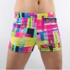 Плавки мужские купальные MS017 цветной квадрат