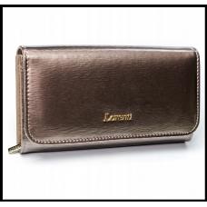 Кожаный женский кошелёк серый Польша бренд Lorenti с защитой RFID