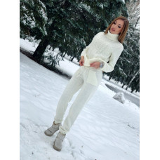 Зимний теплый вязанный костюм для женщин. Молочный, серый, коричневый, бежевый, черный, бордовый, синий, голубой.42-46
