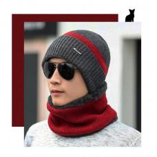 Шапка мужская зимняя без шарфа серо-красная  код 94