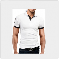 Мужская футболка с воротником  короткий рукав M-XXL (белый) T23