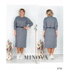 Женское повседневное платье с разрезами по бокам-серый