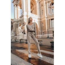 Женский теплый прогулочный осенний костюм. Бежевый, графит, марсала, бордо.  S-M