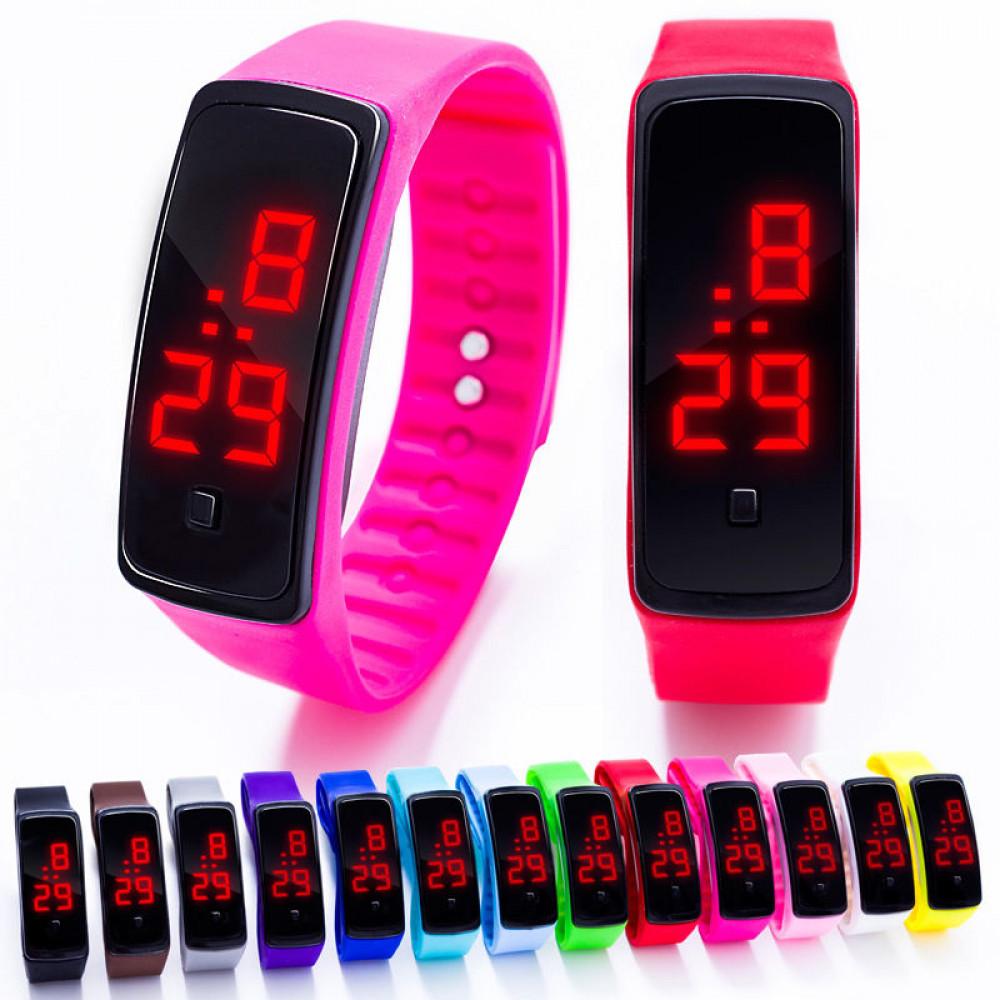 Наручные LED 555 часы браслет  10 цветов