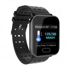 Часы Smart Watch Phone Bakeey A6 чёрные умеют измерять пульс, артериальное давление, уровень кислорода в крови.