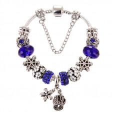 Женский браслет Jewel Antique Silver Plated Snow Blue Cеребристый (AJ_brJJi2)