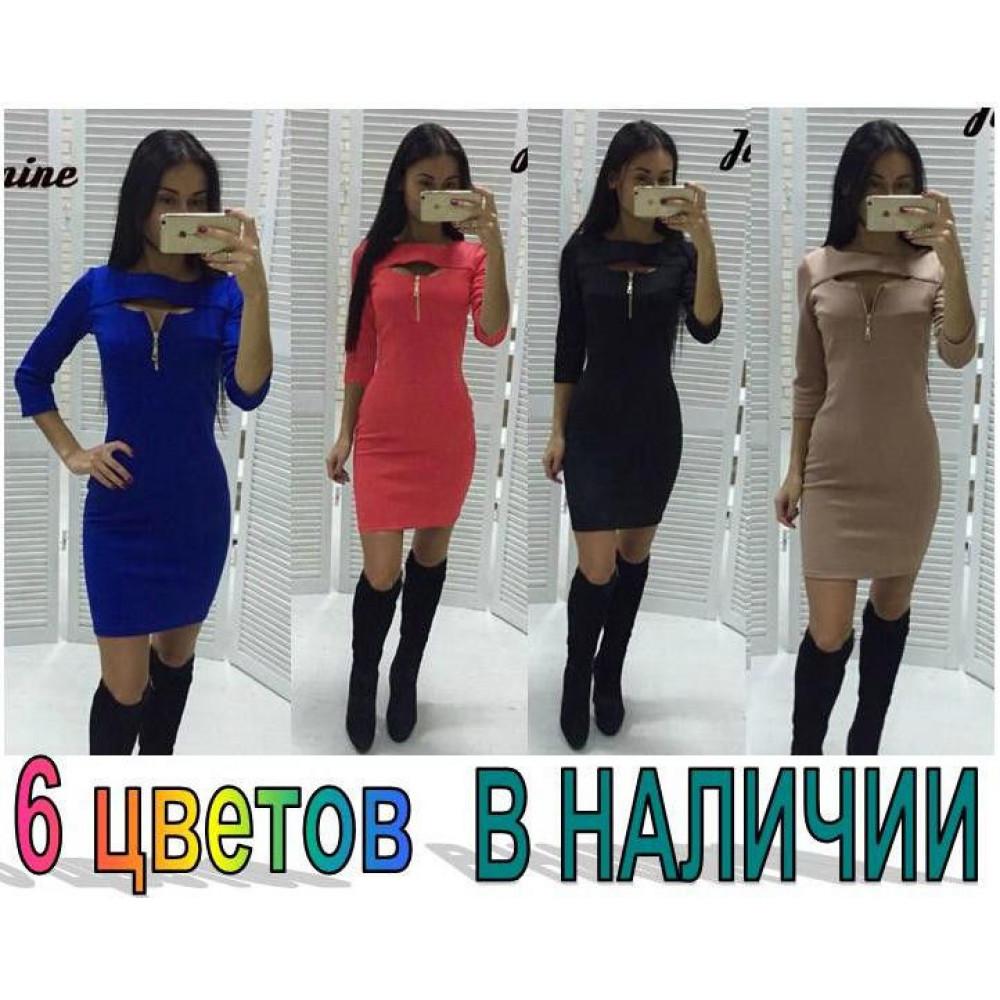 Полуприталенное платье до середины бедра код: 825