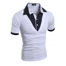 Рубашка мужская короткий рукав (белая) код 49