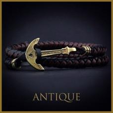 Кожаный браслет с Якорем ANTIQUE Black Island Чёрный с коричневым (mt1105)