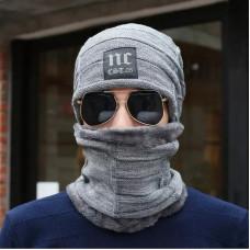 Мужская зимняя вязаная шапка + шарф NC серая