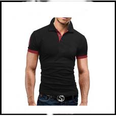 Мужская футболка с воротником  короткий рукав M-XXL (чёрный) T23