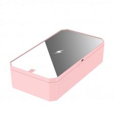Портативный ультрафиолетовый стерилизатор UV с зеркалом и функцией беспроводной зарядки LED Розовый (hub_knZN85749)