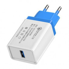 Зарядное устройство MHZ AR 60 USB QC 3.0 Fast Charge Белый с синим (007110)