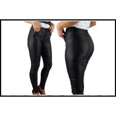 Женские брюки из экокожи, с завышенной талией, черные