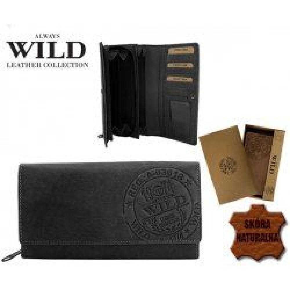 Стильный женский кошелек из кожи ALWAYS WILD (черный)