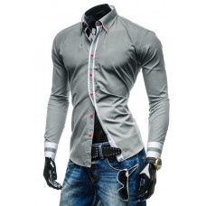 Рубашка мужская M -ХL  (серая ) код 77