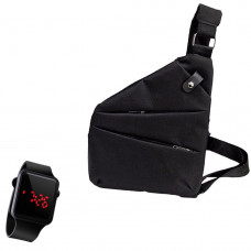 Сумка-мессенджер через плечо 2Life Crossbody Черный + Наручные электронные часы (n-349)