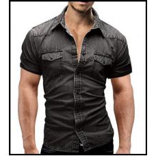 Рубашка джинсовая мужская  (чёрная) код 121