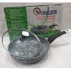 Сковорода с антипригарным гранитным покрытием,  с крышкой Unique UN-5125 (24 см)
