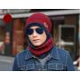Шапка + шарф зимняя вязаная черная код 90