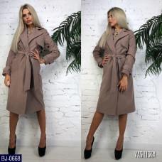 Класическое пальто на запах с перелинкой под пояс. Цвет-капучино, голубой, черный, синий. Размер: S-M