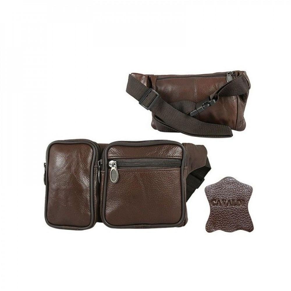 Барсетка, сумка на пояс натуральная кожа Cavaldi