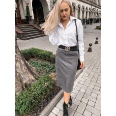Стильная замшевая юбка миди с разрезом и карманами. Цвет серый, р. S, M, L
