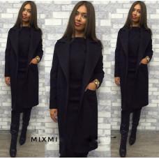 Черное классическое кашемировое пальто на подкладке, с поясом. Размеры:42-44,44-46