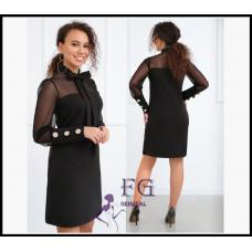 """Вечернее платье с сеткой """"Alana"""" Код: 855 черное"""