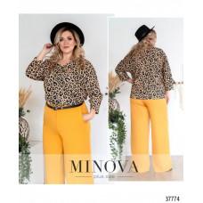 Женская стильная рубашка батал с ярким принтом-бежевый-леопард