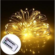 Светодиодная гирлянда LTL нить Капля росы 100 led 10 м c пультом Yellow (10м100lylrm)