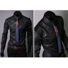 Черная мужская рубашка длинный рукав  L, XL, XXL