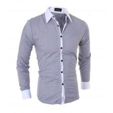 Рубашка мужская  VSKA M- XL приталенная серая с белым код 80