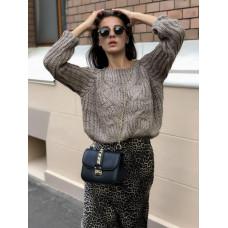Вязаный теплый женский свитер с узором. Цвет коричневый, черный, молочный. Размер 42-44