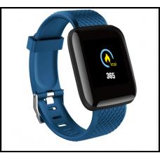 Часы Smart Watch Phone ID 116 Plus голубой умеют измерять пульс, артериальное давление, уровень кислорода в крови.