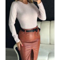 Стильная кожаная юбка карандаш с разрезом и поясом. Коричневый и черный. Размеры S. M