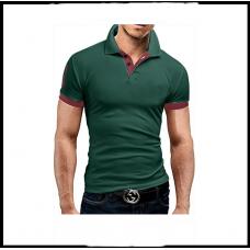 Мужская футболка с воротником  короткий рукав M-XXL (зелёный) T23