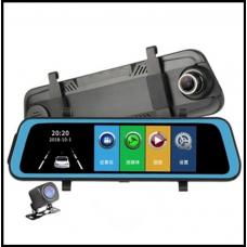 Видео регистратор зеркало D2A Большой сенсорный 9,66D IPS дисплей 7D! Две камеры